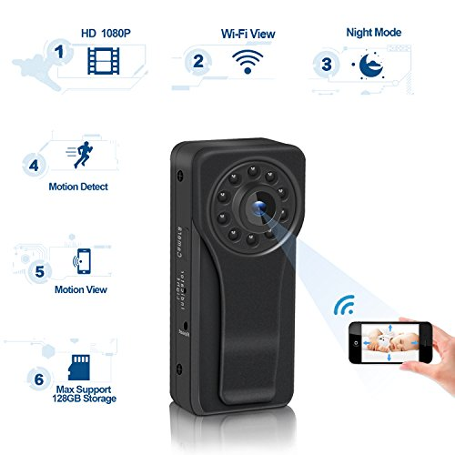 Wifi Hidden Spy Camera, Ruidla Mini Body Camera 1080P HD Monitoring